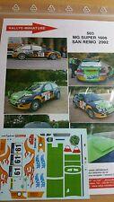 DECALS 1/18 REF 503 MG ZR EVANS RALLY ITALIA SAN REMO 2002 RALLYE WRC