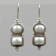 Silberohrringe mit eingeschliffenen 2 Perlen 925 Silber