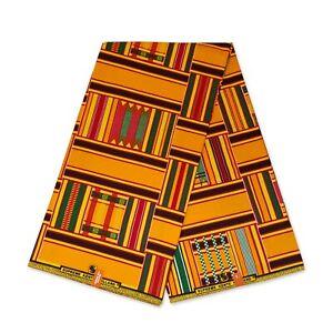African Yellow Kente fabric KENTE CLOTH KT-3129 Kitenge Ghana fabric by the yard
