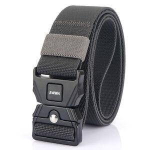 """1PC Dark Grey 1.5"""" Quick Release Tactical Belt Heavy Duty Stretch Webbing Belts"""