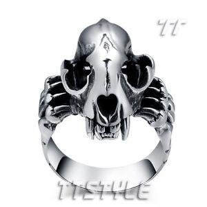 High Quality TT 316L Stainless Steel Dinosaur Skull Punk Ring (RZ79)