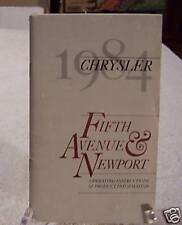 **NOS** 1984 Chrysler Fifth Avenue Owners Manual 84