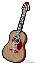 EMBROIDERED ACOUSTIC GUITAR iron-on PATCH FOLK MUSIC EMBLEM applique SIX-STRING