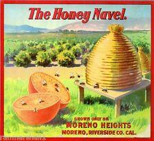 Moreno The Honey Navel Brand Bee Bees Hive Orange Fruit Crate Label Print