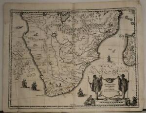 SOUTH AFRICA MADAGASCAR RHODESIA 1646 MERIAN UNUSUAL ANTIQUE COPPER ENGRAVED MAP