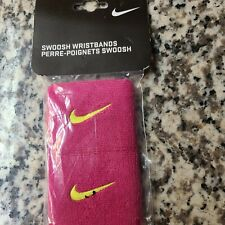 """Nike Swoosh Wristbands 3"""" Pink/Volt Mens Women's new in package"""