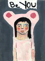 Pink Bear Painting Be YOU Original Art by Katie Jeanne Wood
