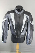 HARRO COLLECTION BLACK & SILVER LEATHER BIKER JACKET + REMOVABLE CE ARMOUR 38 IN