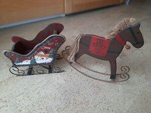 Weihnachten Nostalgie Deko Pferd Schlitten Metall Holz