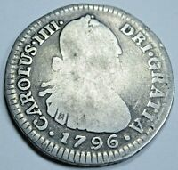 1796 JJ Key Date Colombia Silver 1 Reales Antique 1700's Spanish Colonial Coin
