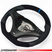 Aplati Alcantara (Bleu) Volant en Cuir BMW E87, E88 Neuf Cuir -ouverture Multi