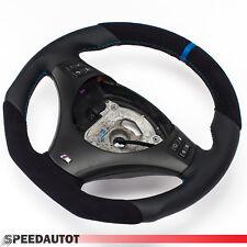 Adintelado Alcantara Volante de Cuero BMW E81, E82 Nuevo Cuero Panel Negro Azul