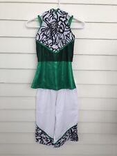 A Wish Come True Costume Girls Size LC 12 14 Green Top White Loose Pants Hoodie