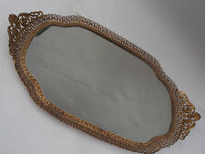 Antique APOLLO Ormolu Filigree Baskets Mirror Gold Plated Quality Perfume Tray