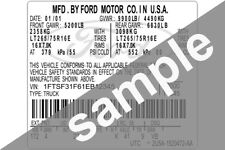 Ford Data Sticker Pillar VIN Tag Dash ID Door Jamb Decal Certification Label