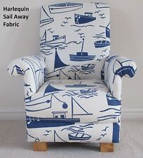 Harlequin Sail Away Fabric Child Chair Blue Nautical White Ships Boats Nursery