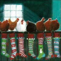Pack of 5 Hens Stockings British Heart Foundation Charity Christmas Cards Card P