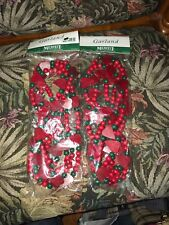 2 Nip Midwest of Cannon Falls Green Red Wood Bead hearts cranberries Garland