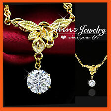 24K GOLD GF HANDMADE FLOWER LILY SIMULATED DIAMOND Mother Day Gift NECKLACE GIFT