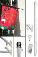 5ft Aluminum Garden Banner Residential Flag Pole Silver Ball with Bracket