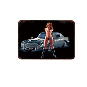 """James Bond-Sexy Red Head Girl Sign for Wall Vintage Metal Tin Retro 11.8"""" x 7.8"""""""