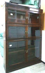 Vintage Esavian Glass Doors Cabinet Cupboard Bookcase