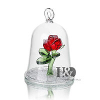 H&D Red Crystal Enchanted Rose Flower Figurine Dreams Ornament in a Glass Dome