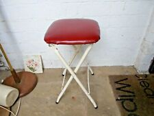 Vintage Retro c1970s Metal Red Vinyl Kitchen Stool Fold up