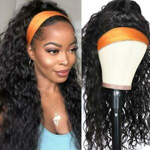 Women Headband Wig Human Hair Water Wave Human Hair Wigs None Lace Front Wigs