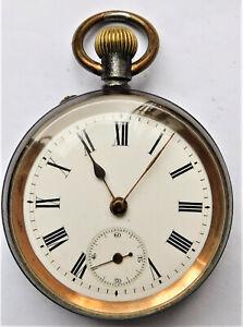 NO RESERVE c1890 Victorian Gunmetal Pocket Watch Vintage Antique