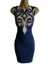 Lipsy Bodycon Dress 8 Navy Nude Mesh Panel Sequin Embellished Xmas Party