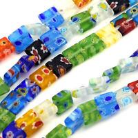 50pcs/Strd Handmade Millefiori Lampwork Glass Beads Square Colorful Spacers 8mm