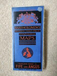 Fife & Angus Barts Revised Half-Inch Contoured Cloth Map 13  c1940's
