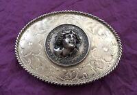 💥SUPER RARE💥 Antique SUNSET TRAILS Sterling Silver 3-D 1879 Dollar BELT BUCKLE