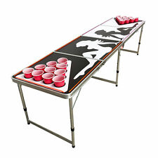 BEER PONG TABLE 8' FOLDING TAILGATE DRINKING GAME CUP HOLES LED LIGHTS #1