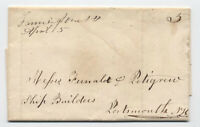 1847 Farmington NH manuscript stampless folded letter to Portsmouth [5249.53]
