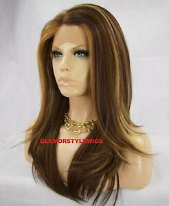 FREE PART HUMAN HAIR BLEND LACE FRONT FULL WIG LONG STRAIGHT BROWN BLONDE MIX