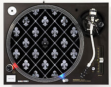 DJ INDUSTRIES FLEUR DE LIS SMOKE - DJ SLIPMATS (1 PAIR) 1200's or any turntable