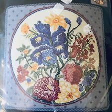 "Bucilla Needlepoint Kit Iris Floral Petite Point NEW OOP 16"" x 16""  #4869"