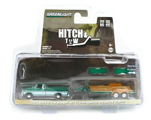 1:64 GreenLight *HITCH & TOW* GREEN MACHINE 1976 Ford F-150 Pickup Car Trailer