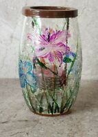 """Crackle Glass Hand PaintedFlowers & Leaves Design Tea Light Holder 5.5"""" Unused."""