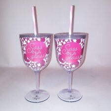 """Set of 2 Hallmark Plastic Wine Glasses With Lids and Straws """"Sass in A Glass"""""""