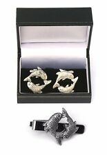 Pisces The Fish Cufflinks & Tie Clip Bar Slide Set Astrology Gift