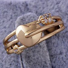 Lucky CZ Heart Cupid's arrow Womens Ring Yellow Gold Filled Size 6#A6247