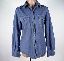 vince Lightweight Chambray Denim Utility Roll Sleeve Shirt Top Mens Womens Sz S