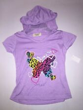 *NEW Girls Purple Animal Print Butterfly & Hearts Hooded Summer Shirt Size 6/6X