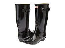 HUNTER Huntress Gloss Snow Rain Tall Boots BLACK Rubber Sz 4 EU 36 WIDE Calf NIB