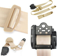 Beige 3 Point Style Auto Car Front Seat Belt Buckle Kit Retractable Safety Strap