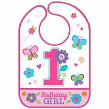 Girl's 1st Birthday Bib with Butterflies & Flowers