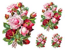 Vintage Image Shabby Pink Rose Flower Floral Bouquet Waterslide Decals Fl488
